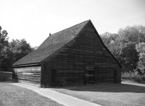 Tobacco Barn on Smallwood Manor State Park, Marbury, MD; made of roughhewn lumber in the construction of the period. Photo by Peggy Brennan, 2007.